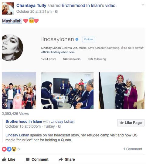 "Photos of Lohan visiting refugee camps in Turkey have gone viral on pages such as Brotherhood in Islam, with many people noting how she has ""changed for good""."