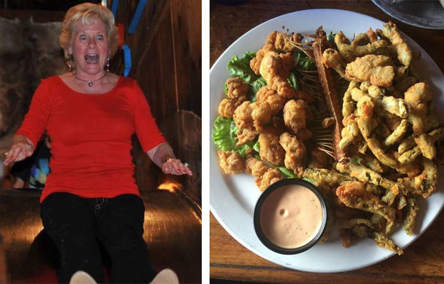 For example, you can eat rattlesnake and slide down to your dinner at Rustler's Rooste Steakhouse!