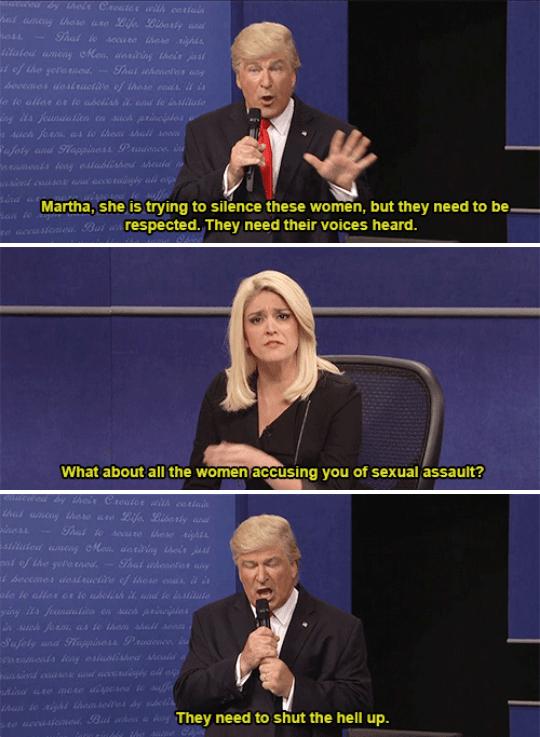 And when Alec Baldwin's Trump reacted to accusations of sexual assault from a number of women.
