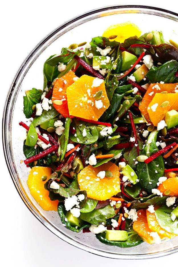 Green Salad with Oranges, Beets and Avocado