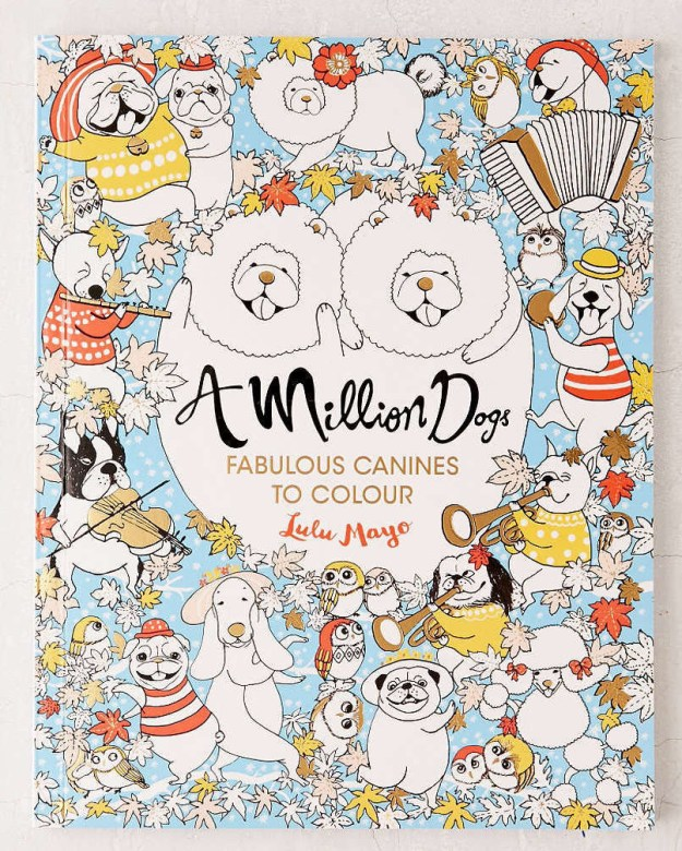"""A coloring book filled with """"fabulous canines."""""""