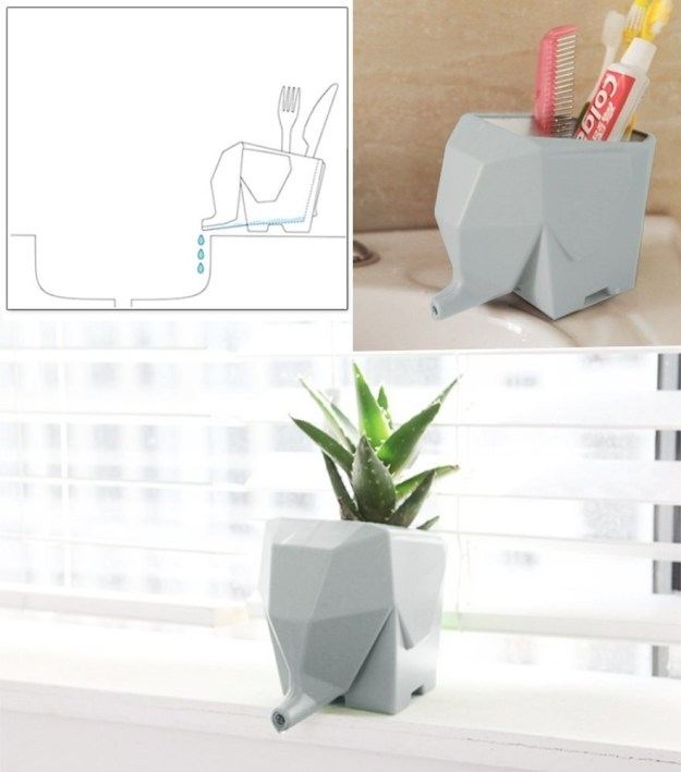 An elephant to use as a cutlery organizer, toothbrush storage device, or planter.