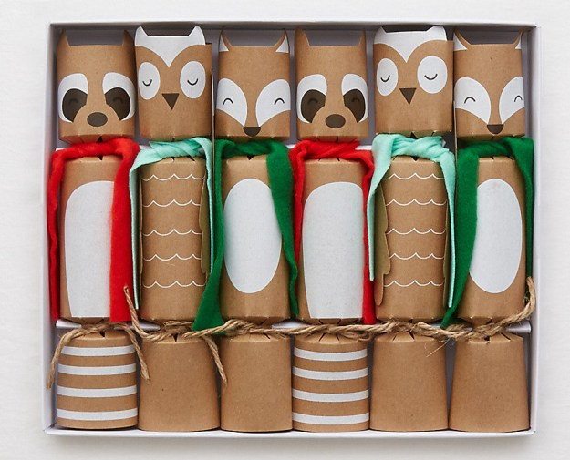 Crackers shaped like woodland animals that contain small gifts, a joke, and a hat.