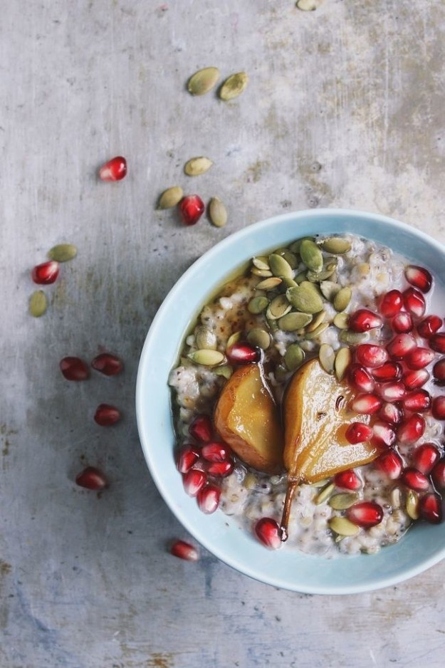 Steel Cut Oats with Maple Roasted Pears and Pomegranate