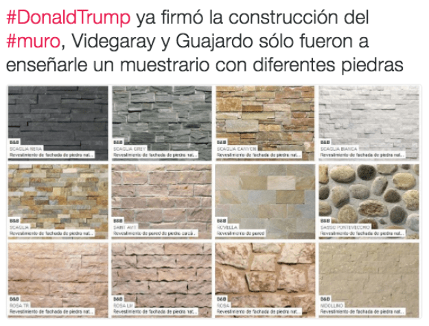"""""""Donald Trump has authorized the construction of the wall; Secretary of Foreign Affairs Videgaray and Secretary of the Economy Guajardo will just show samples of different materials."""""""