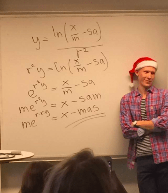 This teacher who's really excited by maths and Christmas.