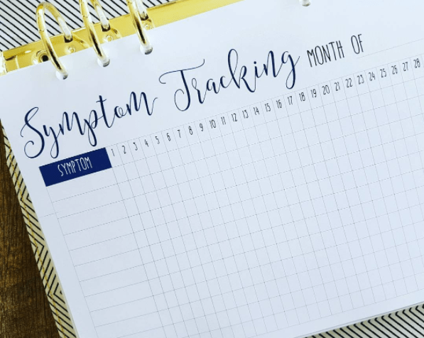 This simple monthly symptom tracker: