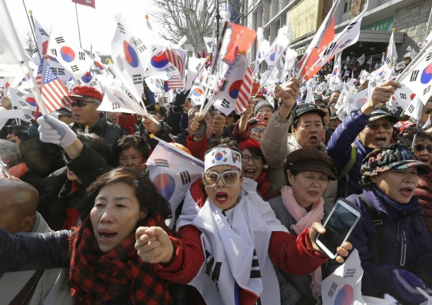 Supporters of Park protested outside the Constitutional Court when it upheld parliament's decision to impeach her following allegations of corruption — the first time a democratically elected leader of the country has been removed from office.