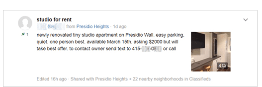 Take this listing on NextDoor for a studio for rent in the Presidio Heights neighborhood of SF. It boasts