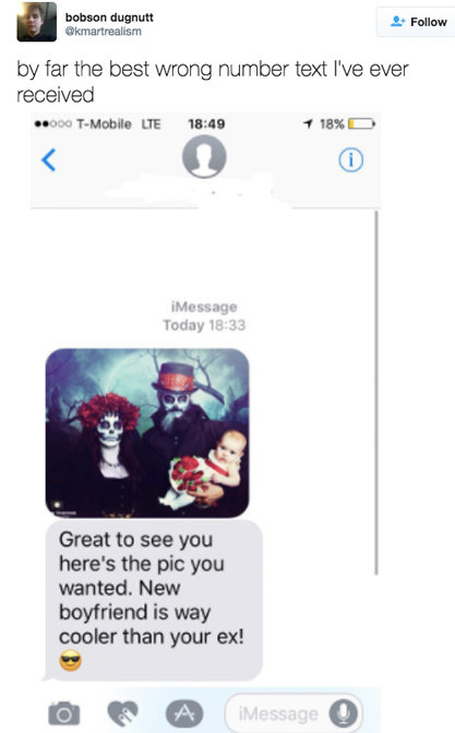 This person who got a text from a family who really wants you to know they like your new boyfriend slash Tim Burton movies:
