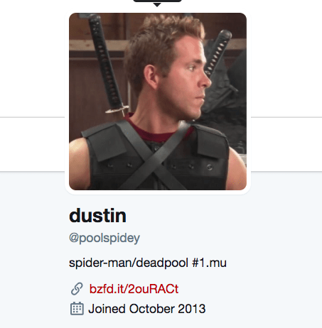 This is Dustin, aka Twitter user @poolspidey, who is a huge Ryan Reynolds and Deadpool fan.