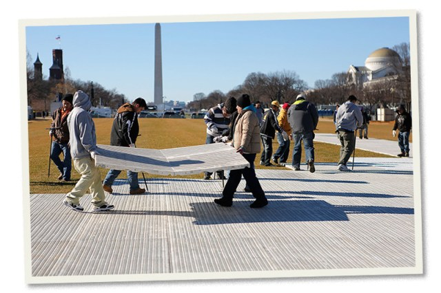 Floor coverings being installed on the National Mall ahead of the 57th Inauguration on January 18, 2013.