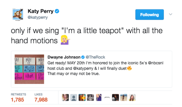 The Rock and Katy Perry brainstormed a future smash hit: