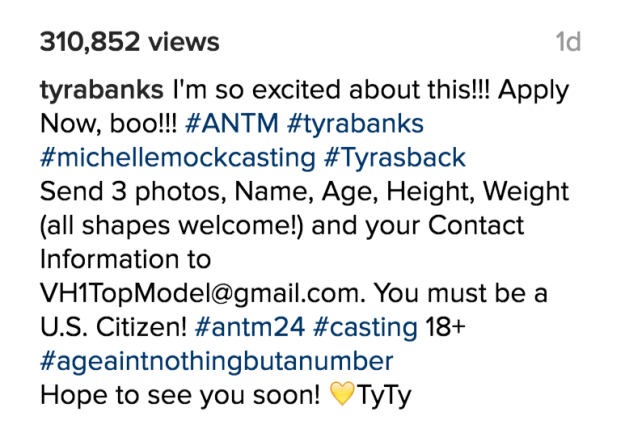 """In addition to age being a non-factor now, Banks also highlighted that people of """"all shapes"""" were also welcome to audition. The most recent cycle of the show received a bit of flack for having no plus-size contestants."""