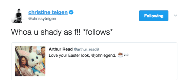 Chrissy Teigen enjoyed this Arthur burn.