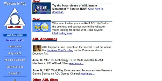 Having the internet meant you were using dial-up and, also, you were most likely using AOL.
