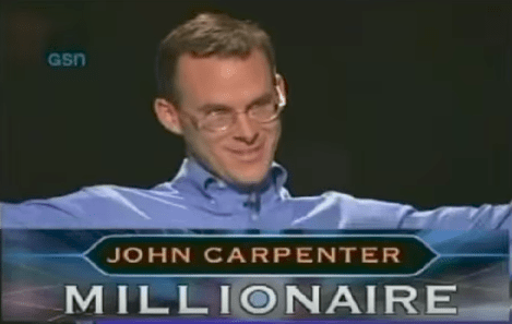 This is John Carpenter, the first American contestant to win $1,000,000 on Who Wants to Be a Millionaire.