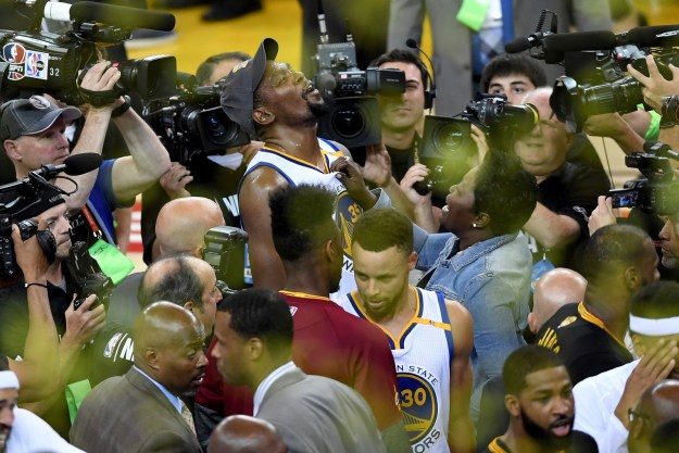 In case you don't pay attention to sportz, last night Kevin Durant and the Golden State Warriors defeated LeBron and the Cleveland Cavaliers to win the NBA championship.