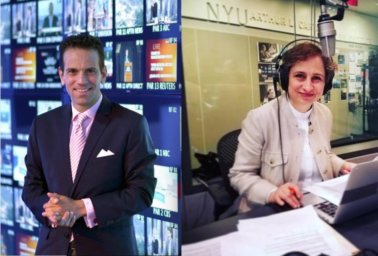 Los periodistas mexicanos Carlos Loret de Mola y Carmen Aristegui.