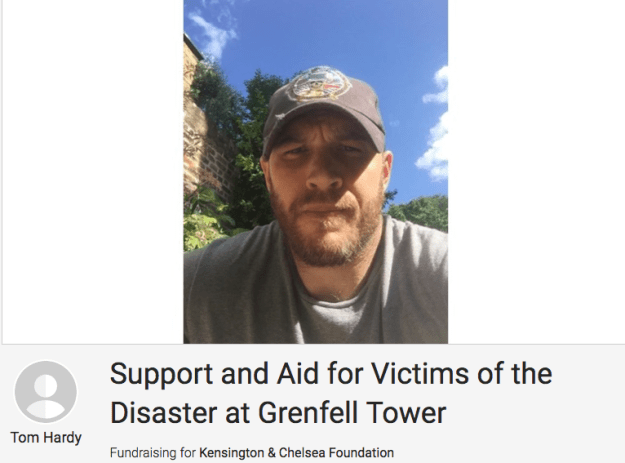 And now it's been revealed that Tom Hardy is doing his bit too. He has set up an emergency fundraising JustGiving page to help those affected.
