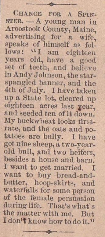 In a post shared by Twitter user Max Roser, it turns out this gentleman caller placed the following personal ad back in 1865, and honestly?! It's so pure and perfect.