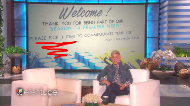 It all started when Ellen put out a big table of swag before the taping, and audience members were told they could each have ONE (1) ITEM for free.