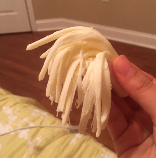 String cheese MUST be pulled apart otherwise it tastes horrendous.