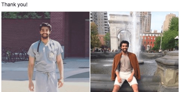 Munir then decided — and this is where our story begins, dear reader — to include two pictures of himself at the bottom of his post: