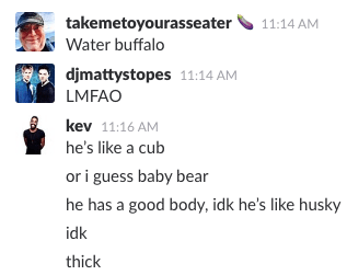 So, in case you didn't know, in the homosexual male community some guys are given animal names because we're weird and primal or something. I asked my secret gay chat group what we would call Chris Pratt and here were their answers: