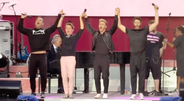 Two of the standout acts on the night were Take That, and, separately, their old bandmate Robbie Williams, who joined them on stage briefly as he took over from their set.