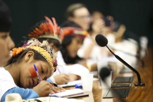 Criança guarani-kaiowá em audiência pública no Congresso Nacional.