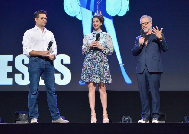 The women united as part of the announcement for Ralph Breaks the Internet: Wreck-It Ralph 2, in which Sarah Silverman will once again star as Vanellope von Schweetz: