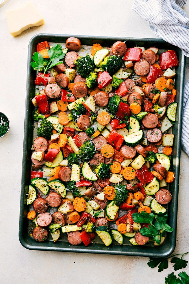 This recipe cooks spicy Italian sausage and seasonal veggies on the same sheet pan for an easy weeknight dinner without a ton of dishes. Get the recipe here.