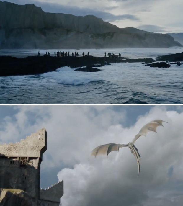 Okay, so the first part of the trailer is pretty tame. We get a reminder that Daenerys has arrived in Dragonstone and is ready to kick some ass.