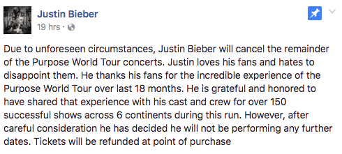 On Monday, Justin Bieber announced on Facebook that he is cancelling the remaining dates of his Purpose Tour.