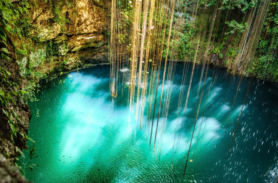 There are tons of cenotes (natural swimming holes) around Mexico's Yucatán Penninsula, but there are none quite like Ik Kil, located just near the archeological ruins of Chichen Itza. It's 85 feet deep and surrounded by rainforests, hanging vines, and lush trees.