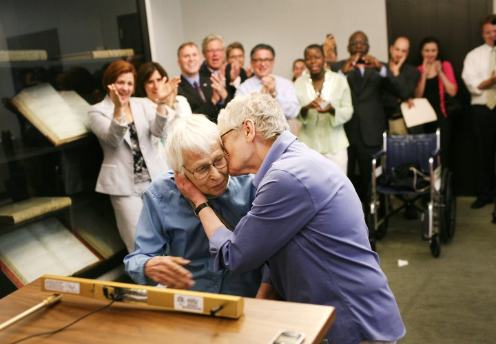 5. Phyllis Siegel, 76, and her wife Connie Kopelov, 84, on the first day that same-sex couples were allowed to legally marry in New York state, 2011: