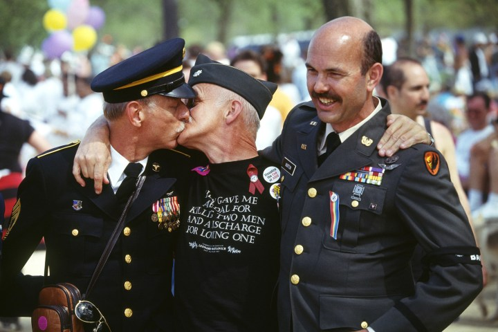 3. These American heroes sharing a kiss during an LGBT rally at our nation's capitol in 1993: