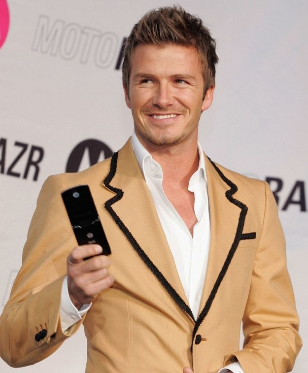 David Beckham and his Razr: