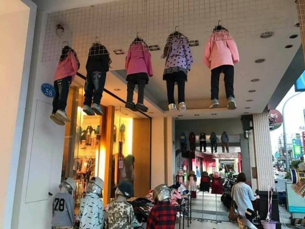 Whoever decided this was the best way to display clothes: