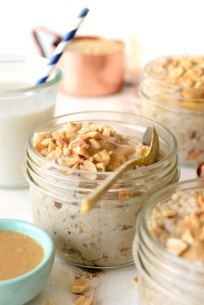 Overnight oats are super simple and save time, and with peanuts and peanut butter added to the mix, these oats pack enough protein to keep you going all morning long. Recipe here.Protein: 22g