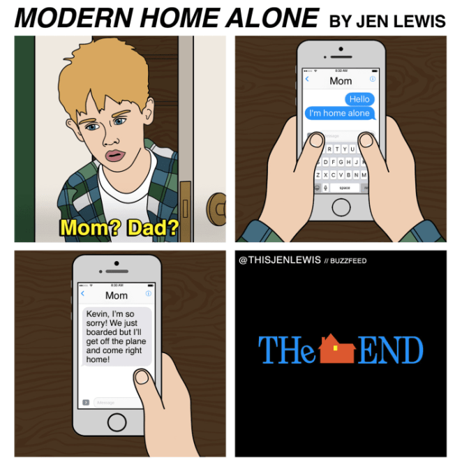 Kevin would have texted his parents 0.2 seconds after he started panicking.
