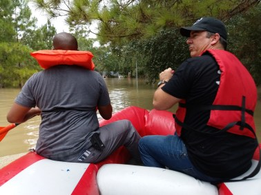 Inflatable boat used as veterans help save lives in Houston.