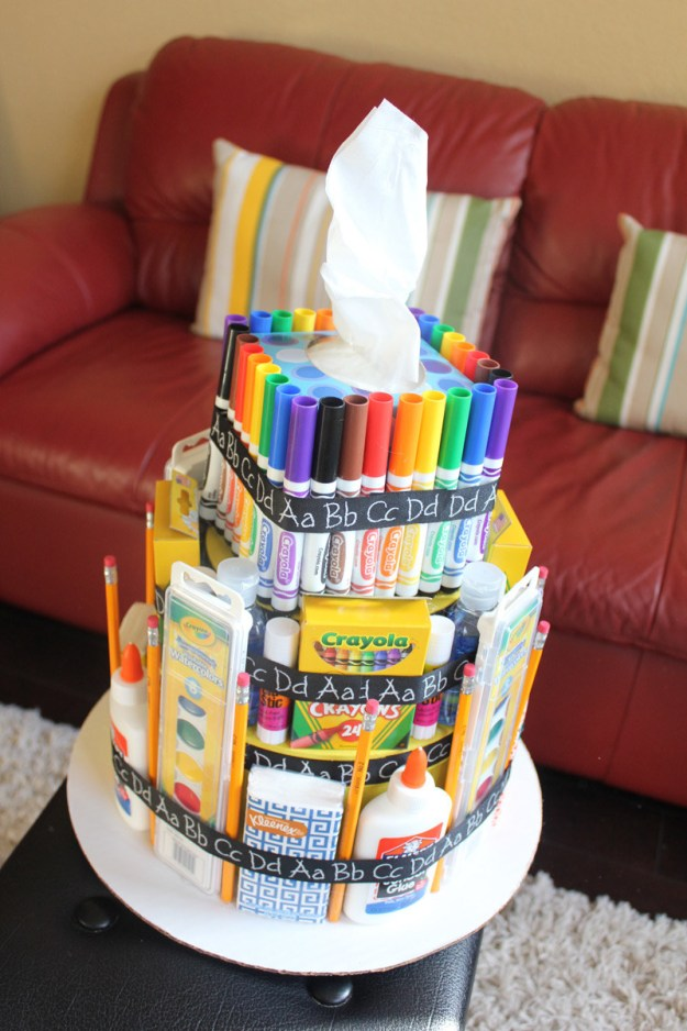 """Or a gigantic """"cake"""" LOADED with school supplies you didn't have to buy yourself?"""