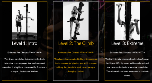 Rise Nation offers three different classes of increased difficulty:  Level 1: Intro, Level 2: The Climb, and Level 3: Extreme.