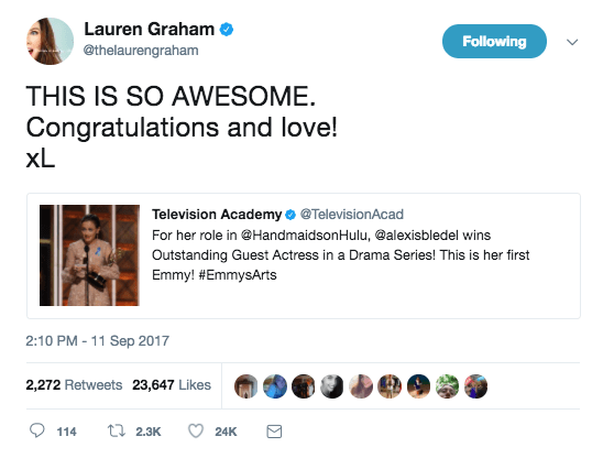 So if you saw, for example, Lauren Graham congratulating her onscreen daughter Alexis Bledel for Emmy her win over this past weekend, you might've been confused.