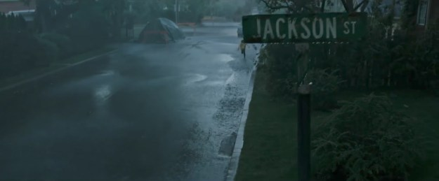"""In the novel, """"the intersection of Witcham and Jackson"""" is mentioned when Georgie's boat is bobbing down the flooded street, and we see that in the film."""
