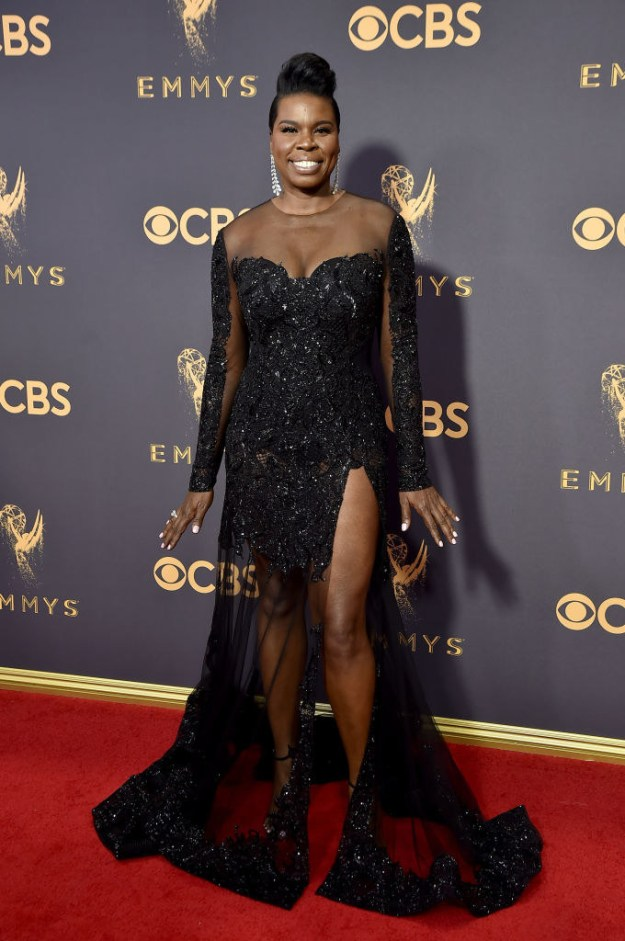 And Leslie did the damn thing in a sexy sheer black gown.