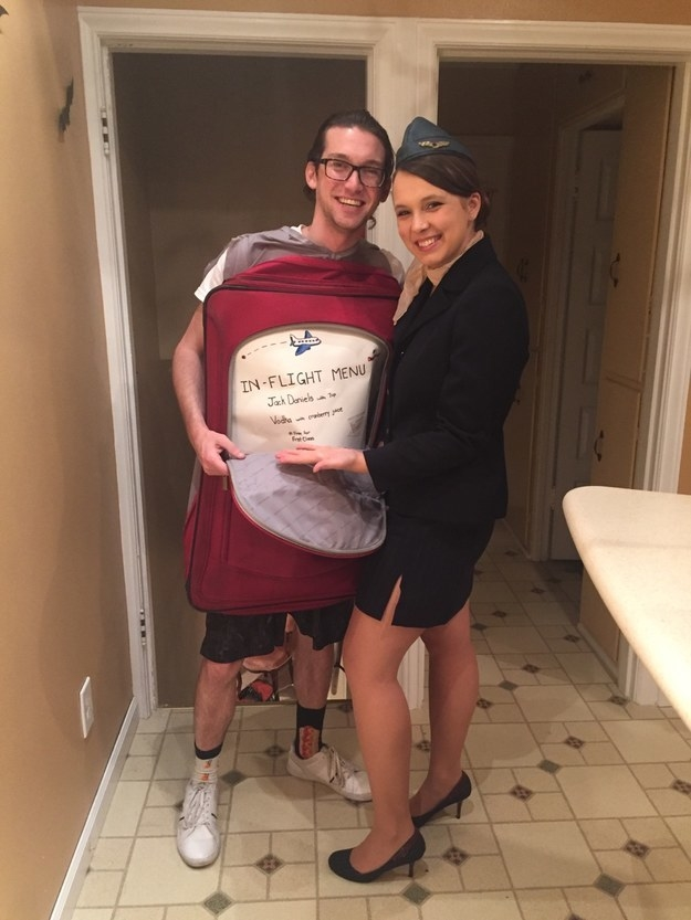 """""""I was a flight attendant and my husband was my suitcase, complete with an in-flight drink menu! We even put mini shots, small cups, and mixers in the front pocket so we could make drinks for people.""""—amandas44"""