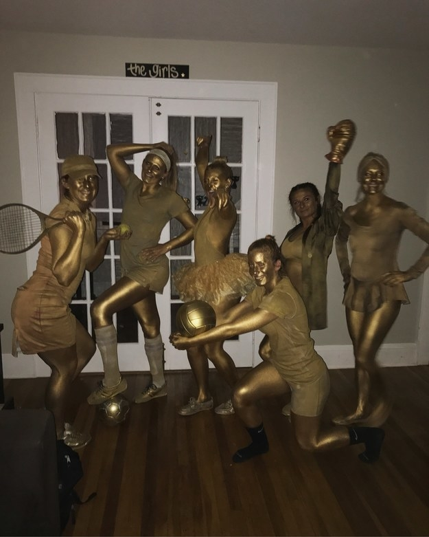 """""""We spray-painted white clothes to turn them gold and wore gold paint from head to toe!"""" —natalied4"""